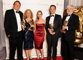 Paul Hamblin, Abdre Schmidt, Catherine Hodgson and Bosse Persson celebrate their Sound Fiction BAFTA for Wallander with award presenter Joanne Froggatt.