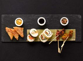 Sushi Rolls, Prawn Toasts and Satay Skewers
