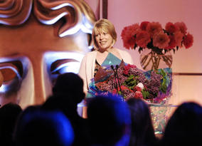 Chairman of the Academy Hilary Bevan-Jones is applauded at the ceremony's close (pic: BAFTA / Richard Kendal).