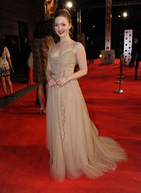 The Brit actress will co-present the BAFTAs for Short Film and Short Animation with Game of Thrones star Joseph Mawle. Her dress is by Valentino, shoes by Christian Louboutin.