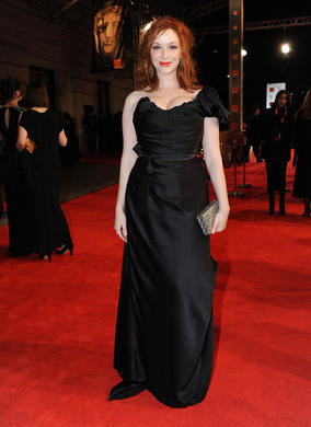 The Mad Men star also appeared in Drive last year and will be announcing the winner of the Orange Wednesdays Rising Star Award. Hendricks is wearing Vivienne Westwood.