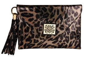 Biba Black Leopard Print Envelope Clutch Bag