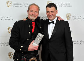 Peter Mullan picked up two awards on the night: the Writer and Director prizes, both for NEDS. Steven Moffat - Sherlock co-creator - poses here with Peter.