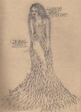 Da Vinci's Demons, costume design sketch for Lucrezia Donati