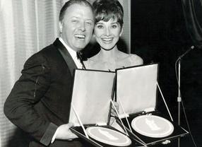 Richard Attenborough and Audrey Hepburn.