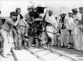 Producer/Director Richard Attenborough and Actor Ben Kingsley on the set of Gandhi (1982)