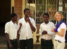 Gillian Rose with three students on The Rosemary Pencil Foundation scholarship program.