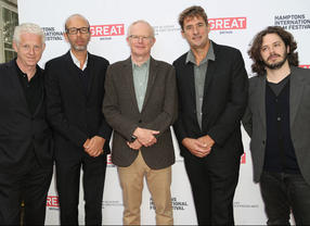 BAFTA New York Chair Charles Tremayne, with Richard Curtis, Eric Fellner, Tim Bevan, and Edgar Wright at the 21st Annual Hamptons International Film Festival on October 12, 2013 in East Hampton, New York. (Photo by Monica Schipper/Getty Images for The Hamptons International Film Festival)