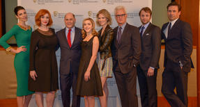 Group Shot of the cast of Mad Men with creator Matthew Weiner at the BAFTA New YOrk celebration of season six at the Harvard Club of New York, April 22, 2013