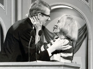 Gloria Swanson presents Kevin Brownlow with the Michael Balcon Award in 1981.