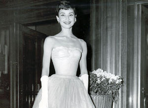 Audrey Hepburn arrives at the Film Awards Ceremony in 1955.