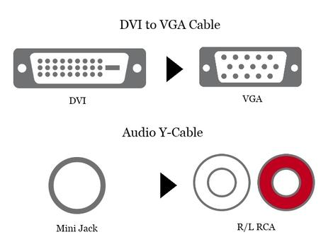 DVI to VGA Cable + Audio Y-Cable