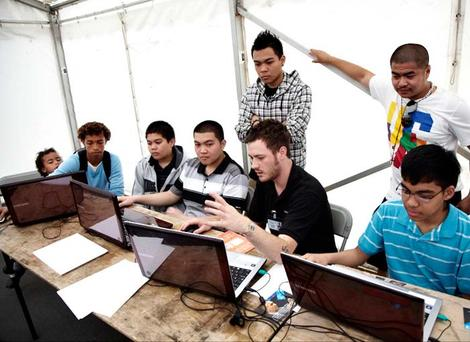 The event brought young people together to learn about game design. It always helps to discuss your ideas with friends and other young game designers too. (Photography: Jonathan Birch)