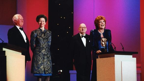 Cilla Black accepts the Lew Grade Award for Blind Date in 1995