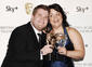 James Corden with his BAFTA for Comedy Performance and Ruth Jones with the Sky+ Audience Award for Gavin & Stacey