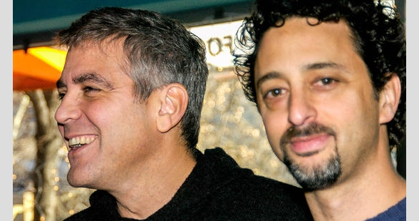 George Clooney and Grant Heslov attend a Q&A for Good Night and Good Luck, New York